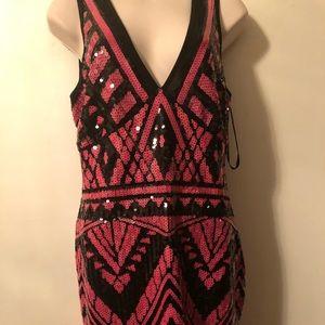 2B BEBe dress size L sequin pink & black pre-worn